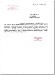 Referencje wystawione przez Urząd Gminy Słupia